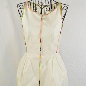 NEW Club Monaco White Sheath Dress w Floral Trim